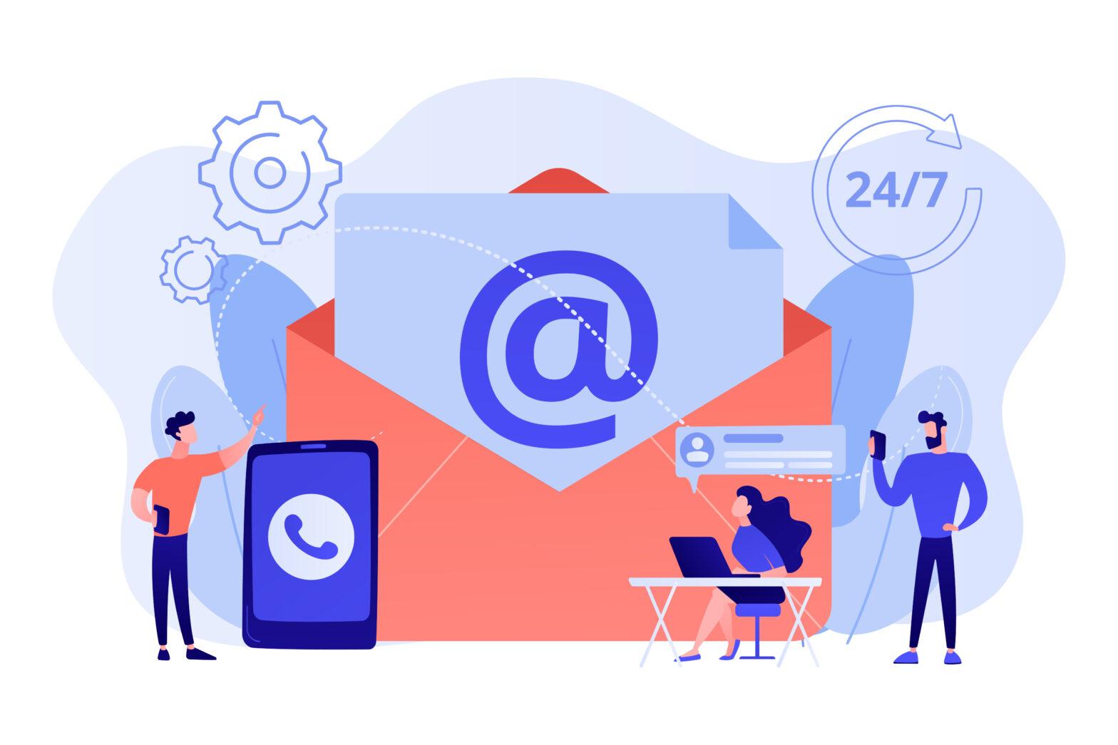 drawing indicating email marketing